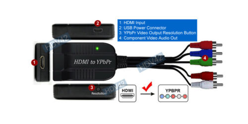 Plug-n-Play HDMI To Component Video Converter With RCA L/R Audio Out