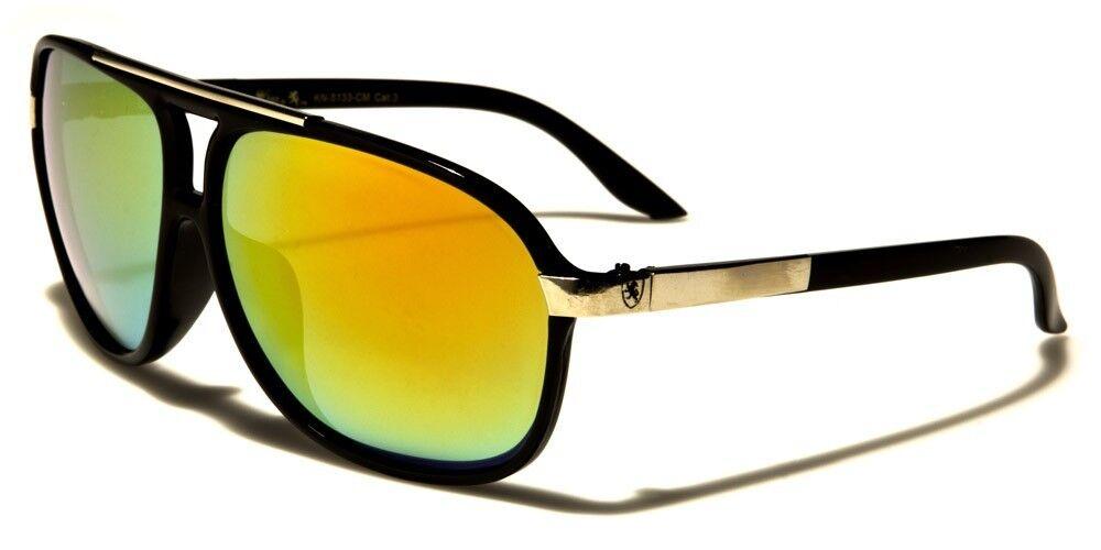 Black w. Fire Lens Aviator 80's Sun Glasses