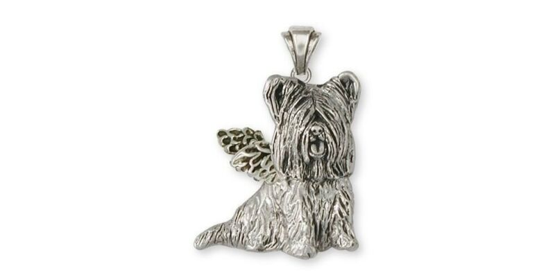 Skye Terrier Angel Pendant Jewelry Sterling Silver Handmade Dog Pendant SKY3-AP