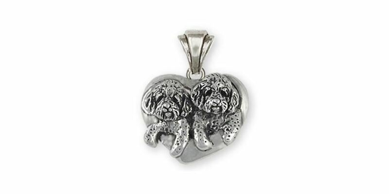 Double Goldendoodle Jewelry Sterling Silver Double Goldendoodle Pendant Handmade