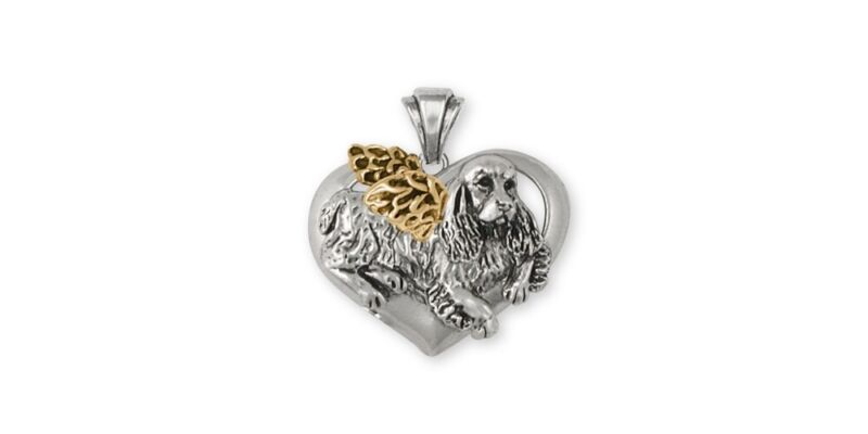 Springer Spaniel Angel Pendant Jewelry Gold Vermeil Handmade Dog Pendant SS2-APV
