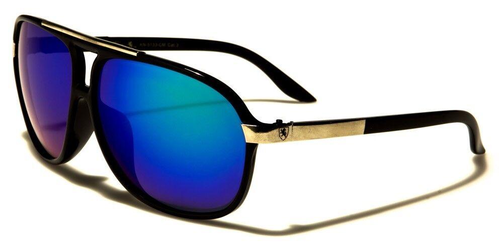 Black w. Ocean Blue Lens Aviator 80's Sun Glasses