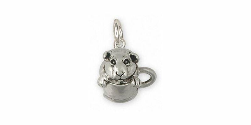 Guinea Pig Charm Jewelry Sterling Silver Handmade Piggie Charm GP9-C