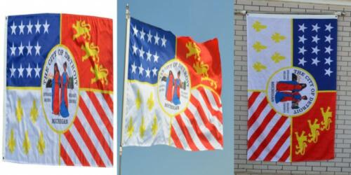 Fyon Large Flag City of Detroit, Michigan 3X5Ft