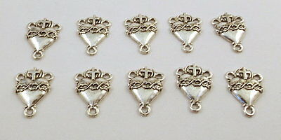 10 Pewter SACRED HEART ROSARY CENTERS -5116