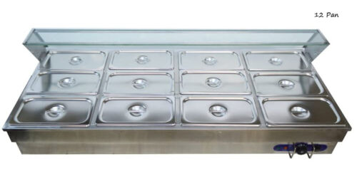 110V 12*1/3 Pan Buffet Countertop Food Warmer Commercial Kitchen Equipment