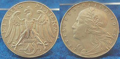 3 Mark Probe 1925 ohne Münzzeichen Motivpr. in Silber VS und RS neues Design,