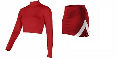 Plus Size Cheerleader Uniforms (REAL Adult Plus Size RED WHITE Cheerleader Uniform Crop Top Skirt)