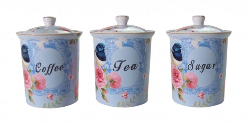 Blue Bird Tea Coffee Sugar Canisters