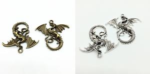 Ciondolo-DRAGO-cordino-colore-bronzo-o-argento-animali-fantastici-fantasy