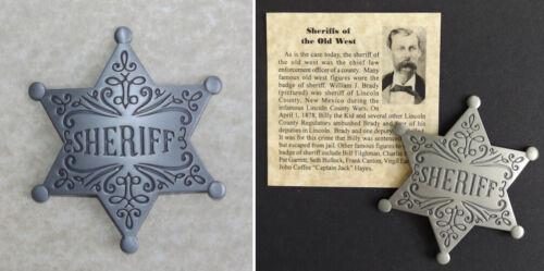 Old West Style Sheriff Badge, western, star, silver, William J. Brady