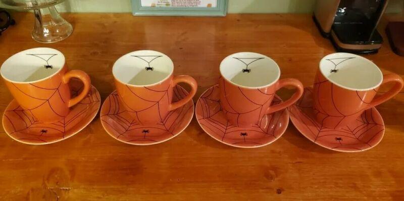 (4) Williams-Sonoma Halloween BLACK SPIDER WEB Coffee Mugs & Dessert Plates