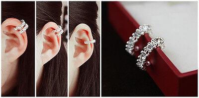 Cartilage Cuff - Fashion 925 Silver Ear Cuff Wrap Rhinestone Cartilage Clip Earring Non Piercing