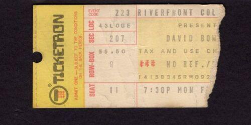 1976 David Bowie Concert Ticket Stub Isolar Tour Riverfront Coliseum Cincinnati