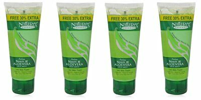 Neem and Aloe Vera Face Wash 100% Soap Free Cleanser Natural - 65ml (Pack of 4)