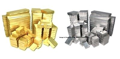 100 Assorted Size Gold Silver Foil Cotton Filled Jewelry Packaging Gift Boxes