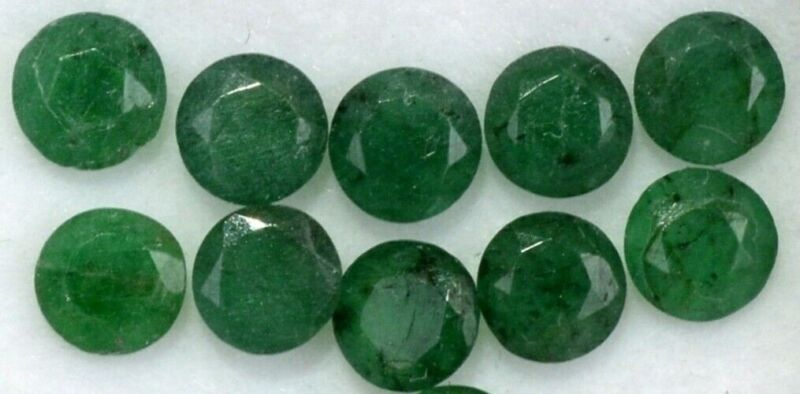 COMMERCIAL EMERALD 3 MM ROUND CUT CALIBRATED 6 PC SET F-2620