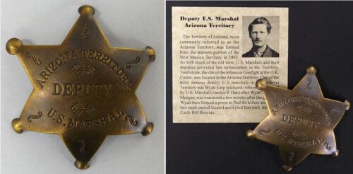 Deputy US Marshal Badge, Arizona, antiqued brass, old west, boxed, Wyatt Earp