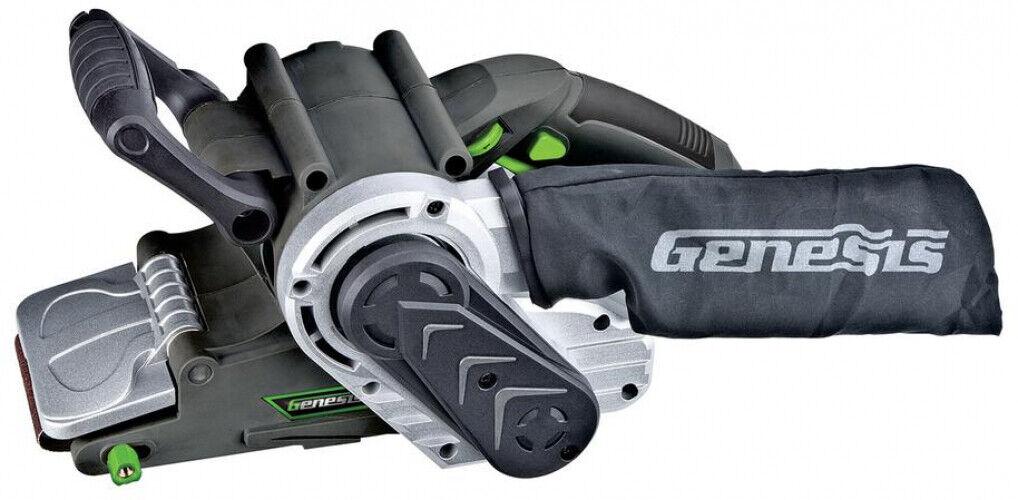 Belt Sander 3X21 8 amp variable speed genesis dust bag adjus