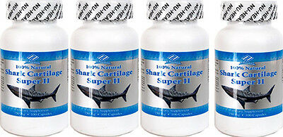 4 bottles Shark Cartilage Super II (750 MG x100 Capsules/bottles)