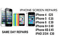 iPhone Screen Repair While you Wait Service with Warranty with free TEMP GLASS