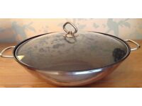 Large 32 cm Carbon Steel Chinese Wok with Glass Lid