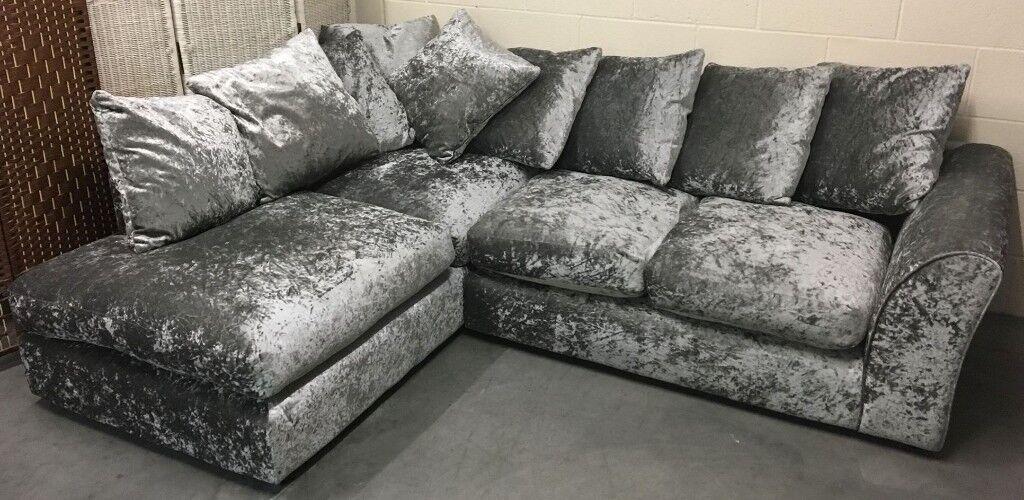 Vermont Left Hand Corner Chaise Sofa Silver Crushed Velour Velvet New Rrp 699