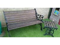 Garden Bench & Small Table - Ideal For Restoration Project.