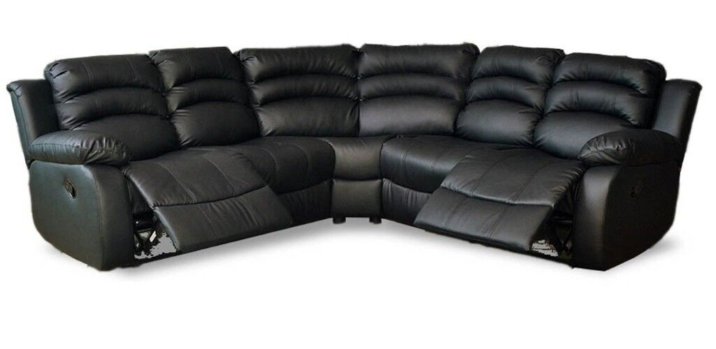 Less Than Half Price Leather Recliner Sofas Corner Groups Sofa King Quick Delivery Black