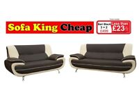 Brand New Designer Sofa and Corner Groups for less than £23 per month - 3+2 Black-White