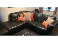 McDonalds Dark Brown Leather Corner Sofa RHS