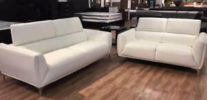 White Real Leather Sofa Set Caledon (FN501)