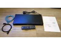 Sony BDP-S370 Blu Ray Player, Remote, Instructions, HDMI Cable & Ethernet Cable