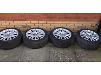 "17"" Audi 8 V Spoke Wheels (AUD 4F0601025AK8Z8) with Continental Tyres"