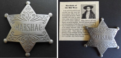 Old West Style Town Marshal Badge, western, star, silver, Wild Bill HIckok