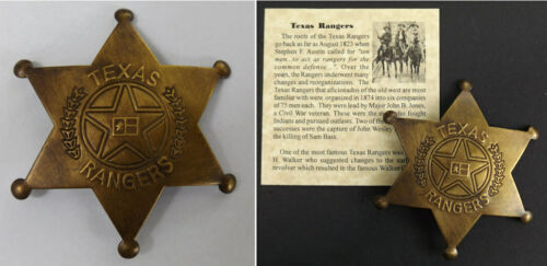 Texas Ranger Badge, antiqued brass, old west, western, boxed