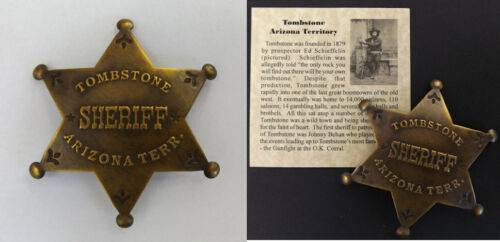 Tombstone Arizona Territory Sheriff Badge, boxed antiqued brass old west western