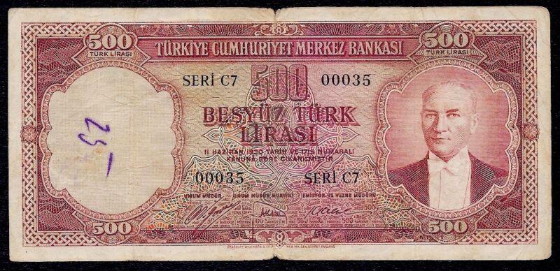 TURKEY 500 LIRA  1953  P-170  F  SERI  C7