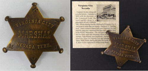 Virginia City Marshal Badge, Nevada, antiqued brass, old west, western, boxed