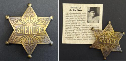 Old West Style Sheriff Badge, antiqued brass, boxed, western, Charlie Bassett v2
