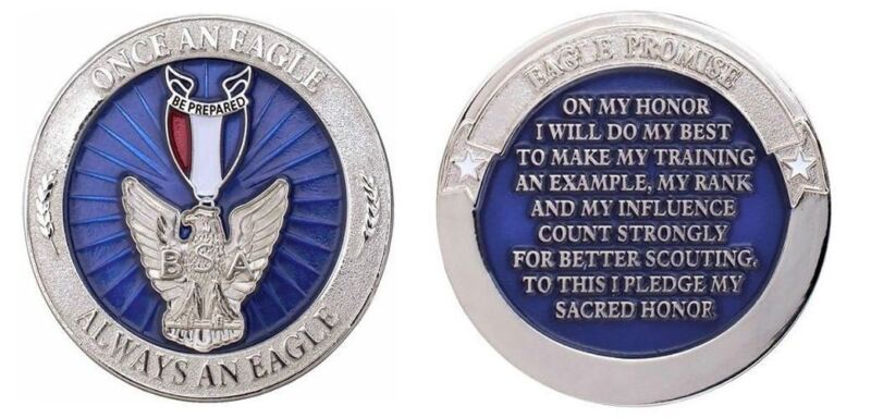 Boy Scout Once an Eagle Always an Eagle Recognition Challenge Coin Award W Case
