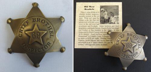 Brothel Inspector Badge, antiqued brass, old west western 69 bordello cat house