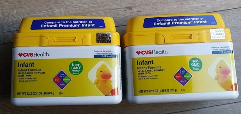 2 Pack CVS Non-GMO Infant Formula with Iron 0/12 months 22.2 oz each EXP 9/2022