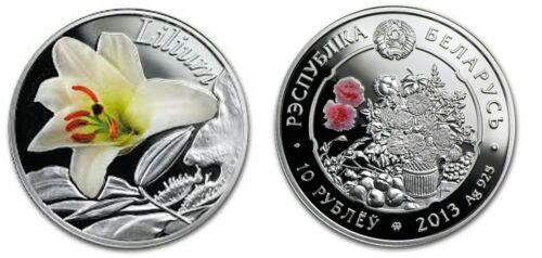 2013 Belarus silver Color Proof 10 roubles-Lily Flower