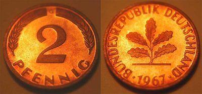 2 Pfennig 1967G  BRD  mit magnetischem Eisenkern !!!! Schöne Patina, PP