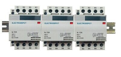 12 Pole Lighting Contactor 60A Silent N/O 110 120V Coil, 30Amp 40A 50A DIN Rail