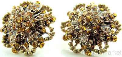 Antique Pave Earrings (Antiqued Gold Pave Crystal Flower Stud Earrings )
