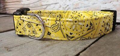 Yellow Bandana BUCKLE Designer Dog Collar with leash set option