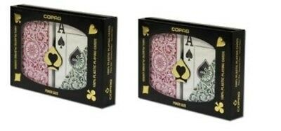 (2 Sets Green Burgundy Poker Wide Jumbo Index Copag Plastic Playing Cards NEW)