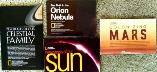Lot of 4 National Geographic maps, Sun, Mars, Orion Nebula, Our Celestial Family